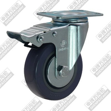 3 inch flat bottom movable brake rubber-plastic (gray) wheel