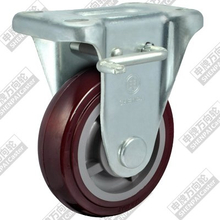 6 inch flat bottom fixed brake plastic core polyurethane wheel