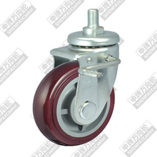6 inch screw brake plastic core polyurethane wheel