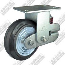 6 inch flat bottom fixed iron core rubber wheel